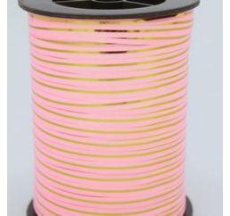 Лента Нежно-Розовая с золотой полосой 250ярд