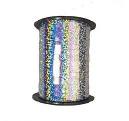 Лента для шаров Серебряная голограмма 5мм 150м