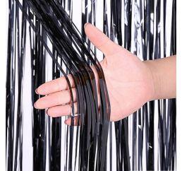 Чёрный фольгированный занавес для фото зоны 1х3м