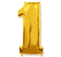 Шар Цифра 1 Золото ФМ 102см