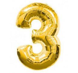 Цифра 3 Золото ФМ 102см