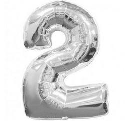 Серебряная надувная цифра 2 размер 102см ФМ