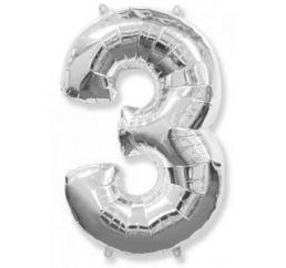 Цифра 3 Серебро ФМ 102см