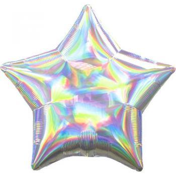 Фольгированный шарик Голографическая Звезда Блеск 45см