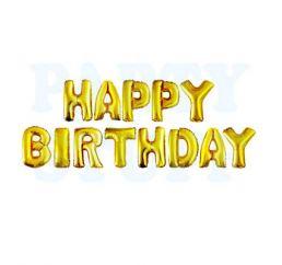 Шары-буквы HAPPY BIRTHDAY Золото К