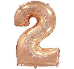 Цифра 2 Розовое Золото ФМ 102см