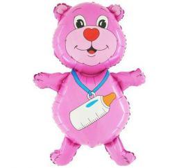 Мишка розовый с соской Grabo