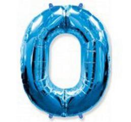 Синяя Фольгированная цифра 0 размер 102см ФМ