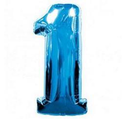 Синяя Фольгированная цифра 1 размер 102см ФМ
