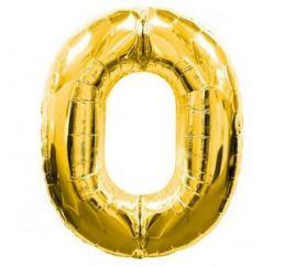 Шар Цифра 0 Золото ФМ 102см