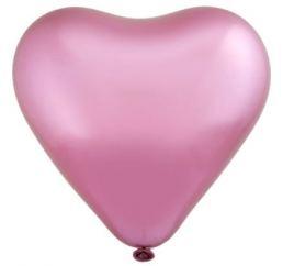 Шар Сердце Хром Розовое 30cm