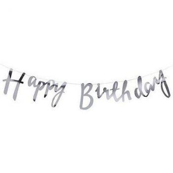 Бумажная серебряная гирлянда HAPPY BIRTHDAY Классика 150см