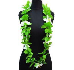 Гавайские леи (бусы) бело-зеленые 125см