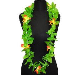 Гавайские бусы оранжево-зеленые 125см