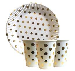Бумажная посуда для праздника Золотой горошек набор на 10 персон