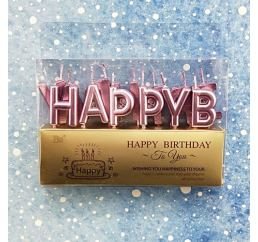 Свечи-буквы HAPPY BIRTHDAY Розовые металлик