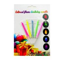 Свечи с разноцветным пламенем 5шт