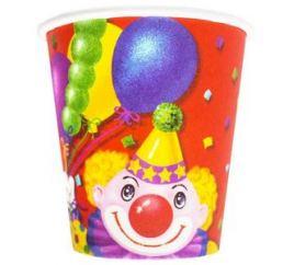 Стаканчики бумажные Клоун с шарами 190мл 6ш